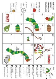 The very hungry caterpillar - Boardgame - ESL worksheet by robirimini Eric Carle, The Very Hungry Caterpillar Activities, Hungry Caterpillar Party, Bug Crafts, Book Activities, Sequencing Activities, Teaching English, In Kindergarten, Board Games