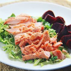 Seared Salmon over Shredded Brussels Sprouts with Beets