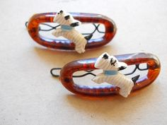 Oh how lovely 1960s vintage scottie dog barrettes  $6