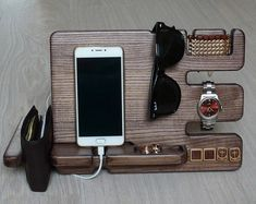 Wooden docking station|Charging Station|Gift for a man|Christmas gift|Gifts For Him|Boyfriend Gift|Womans Gift|Organizer|Brown|Birsday gift
