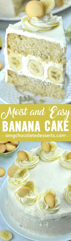 You will love this incredibly moist and easy Banana Cake with rich and fluffy Cream Cheese Frosting! Just like with banana bread, overripe (read: brown) bananas work bet for this recipe. Kinds Of Desserts, Köstliche Desserts, Chocolate Desserts, Delicious Desserts, Dessert Recipes, Picnic Recipes, Health Desserts, Cupcake Recipes, Cupcakes