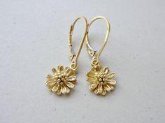 Gold flower earrings Small flower dangle earrings by KeyYoung, $21.00