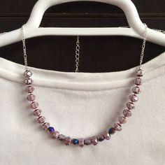Amethyst beaded choker necklace Short glass by BarbsBeadedJewelry