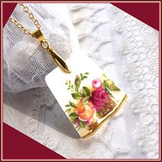 Royal Albert  Old Country Roses  China Necklace  by treasure4ever, $27.00