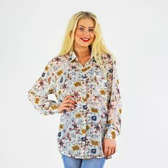 Glamorous White Folk Print Baggy Long Sleeve Shirt £19.99  Available Instore And Online www.pinkcadillac.co.uk Folk Print, Pink Cadillac, Cute Crop Tops, High Fashion, Womens Fashion, Bandeau Top, Crochet Top, Floral Tops, Long Sleeve Shirts