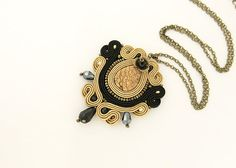 Elegant soutache pendant black and hazel pendant beaded by pUkke