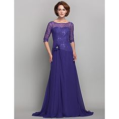 A-line Plus Sizes / Petite Mother of the Bride Dress - Regency Sweep/Brush Train 3/4 Length Sleeve Chiffon / Lace – USD $ 99.99