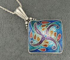 Large Blue Purple Statement Pendant Jewelry Handmade