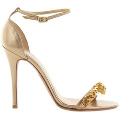 Alexander McQueen Metallic Gold Skull Chain Sandal ($815) ❤ liked on Polyvore featuring shoes, sandals, heels, sapatos, alexander mcqueen, gold, metallic gold shoes, high heel sandals, metallic leather sandals and leather shoes