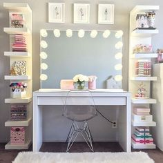 125 Amazing Teen Girl Bedroom Decor Ideas - Page 2 of 2 - Kyleigh's New Room - Sala Glam, Vanity Room, Corner Vanity, Closet Vanity, Closet Mirror, Glam Room, Makeup Rooms, Room Goals, Dream Rooms