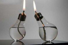 http://catracalivre.com.br/geral/como-fazer/indicacao/faca-uma-lamparina-com-oleo-do-cozinha-usado-e-lampada-queimada/  lampada queimada e oleo de cozinha iluminação alternativa alternative candle