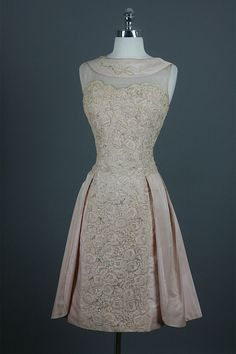 Vintage 50s Illusion Beaded Cotton Lace Train Silk Party Wedding Dress