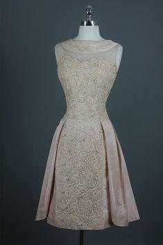 Vintage 50s Illusion Beaded Cotton Lace Train Silk Party Wedding Dress