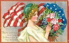 Vintage lady liberty, Vintage Images for memorial day, of july, veterans day cards Memorial Day Flag, Happy Memorial Day, Memorial Quotes, Images Vintage, Vintage Postcards, Vintage Cards, Holiday Postcards, Vintage Pictures, Poster Vintage