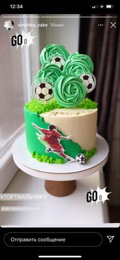 Soccer Birthday Parties, Birthday Cake, Fruit Kebabs, Soccer Cake, Man Cake, Cute Cartoon Girl, Cakes For Boys, Pretty Cakes, Cake Designs