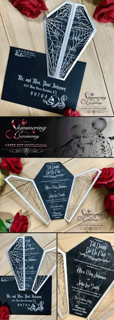 Coffin and Spider Webs Laser Cut Invitation For all the gothic brides and sinister at heart partiers. This laser cut coffin invitation is the perfect way hospice up your halloween event. Perfect Wedding, Fall Wedding, Our Wedding, Dream Wedding, Rustic Wedding, Wedding Shit, Wedding Trends, Wedding Reception, Halloween Wedding Invitations