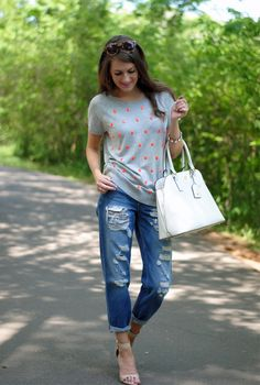 casual with boyfriend jeans - Southern Curls & Pearls