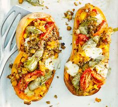 Summery stuffed squash-  Ready-to-eat chickpeas and grains, marinated artichokes, sun-dried tomatoes and mozzarella are all you need to create a baked squash that's low in calories and bursting with flavour