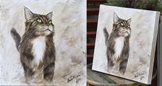 Cat portrait, acrylic on canvas. Size 40x40 cm. By Milja Viljamaa, MiljART 2014/11