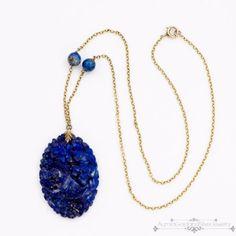 Antique-Vintage-Deco-10k-Gold-Chinese-Carved-Lapis-Lazuli-Lavaliere-Necklace
