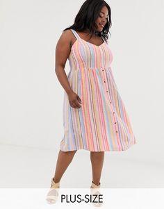 a96b736c191e1 New Look Curve linen stripe midi dress in pink pattern