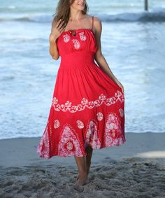 Another great find on #zulily! Red Paisley Smocked-Waist Maxi Dress - Women #zulilyfinds
