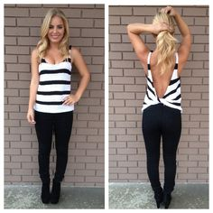 Black Stripe Knot Back Knit Top; I am mostly interested in how her boobs are nice and pushed up like that while not having a traditional bra on.