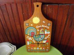 Vintage Pennsylvania Dutch Hand Painted Rooster Wooden Cutting Board by peacenluv72 on Etsy