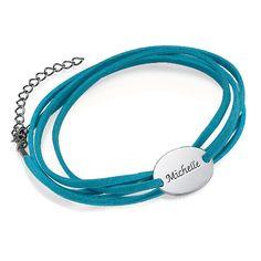 Suede Wrap Bracelet with Personalized Charm | MyNameNecklace