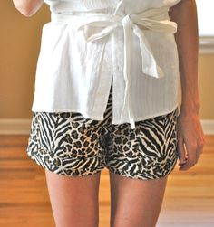 Trash To Couture: DIY Leopard printed shorts sewn from table runner