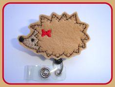 Nurse badge Holder Retractable - Hedgehog Cutie - tan felt badge reel - Nurse RN office teacher