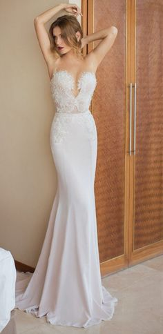 Julie Vino simple beach wedding gown / http://www.deerpearlflowers.com/beach-wedding-dresses-with-gorgeous-details/