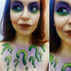 The Riddler makeup cosplay for Halloween