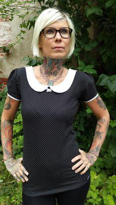 """T-Shirts mit Print - Suzi.Ramone Shirt """"Mary"""" schwarz - weiß gepunktet - ein Designerstück von ByRamone bei DaWanda"""