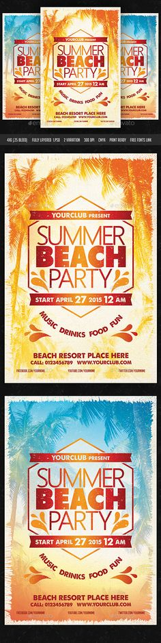 Summer Beach Party Flyer Tempalte #design Download: http://graphicriver.net/item/summer-beach-party-flyer/10913884?ref=ksioks