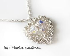 Swarovski crystals one of a kind lovely heart pendant smoke gray chain