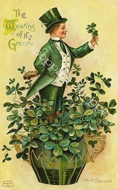 Photographic Print: A 1910 Vintage St. Patrick's Day Greeting Card Illustration of an Irish Man Showing 'The Wearing Of by Victorian Traditions : Saint Patricks Day Art, St Patricks Day Drinks, St Patricks Day Cards, Happy St Patricks Day, Vintage Cards, Vintage Postcards, Vintage Images, Vintage Ephemera, Vintage Pictures