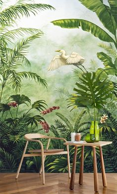 Tropical tapestry from an artist's painting, vertical format - Egret flies into the jungle Wildlife Wallpaper, Wall Wallpaper, Artist Painting, Diy Painting, Tropical Wall Decor, Jungle Art, Mural Wall Art, Environment Concept Art, Envole