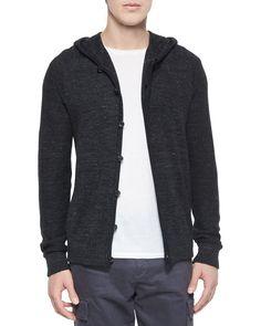Long-Sleeve Hooded Cardigan, Black, Women's, Size: MEDIUM - Vince