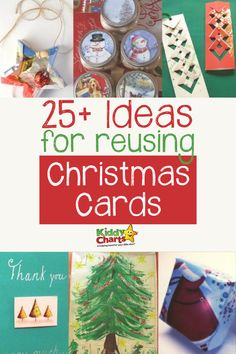 25 ideas for re-using those Christmas Cards - from bookmarks to giving to charity; pop to the site and check them out now! #ChristmasCards #Xmas #Cards #Crafts