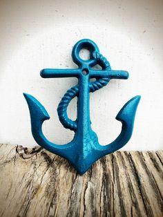 Items similar to BOLD NAUTICAL anchor wall hook // teal blue // rustic shabby chic // towel coat key hooks // sailor beach house // nursery decor on Etsy