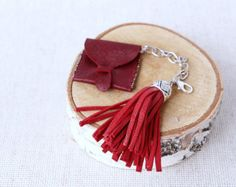 Christmas sale leather small pouch. Keychain, tassel leather keychain, key chain leather, leather tassel and  tiny opened bag.