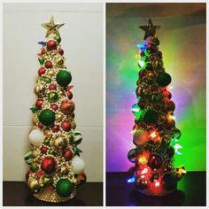 Traditional Color Christmas Tree Centerpiece.  https://www.etsy.com/shop/iCraftByJcCool?ref=search_shop_redirect Check it out on Etsy iCraftByJcCool