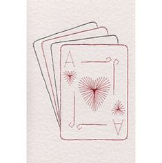 Card stiching patterns - Ace of Hearts