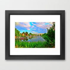 Lagoon Sunset Framed Art Print by Judy Palkimas - $35.00