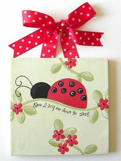 Lady bug art for our little lady's room ; Ladybug Room, Ladybug Nursery, Ladybug Art, Arts And Crafts, Paper Crafts, Diy Crafts, Ladybug Crafts, Country Paintings, Tole Painting