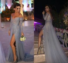 Paolo Sebastian Evening Prom Dresses 2015 Off Shoulder Long Sleeves A Line Gray Sexy High Side Slit Party Evening Dresses 2016 Evening Dresses For Plus Size Evening Dresses For Sale From Bestoffers, $109.03| Dhgate.Com