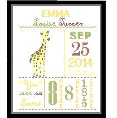 1 Cross Stitch custom Pattern Baby Girl Personalised Birth Announcement Birth Record Giraffe Yellow Green Brown Nature Woodland Nursery Gift by ZindagiDesigns on Etsy