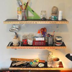 Yardstick shelves for craft/playroom