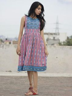 Pink Teal Blue Ivory Handwoven Ikat Knife Pleated Sleeveless Dress With Front Pockets- Long Gown Dress, Frock Dress, Dress Skirt, Kalamkari Dresses, Ikkat Dresses, Kurta Neck Design, Blouse Neck Designs, Trendy Dresses, Casual Dresses